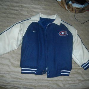 nike montreal canadiens leather/puffer jacket